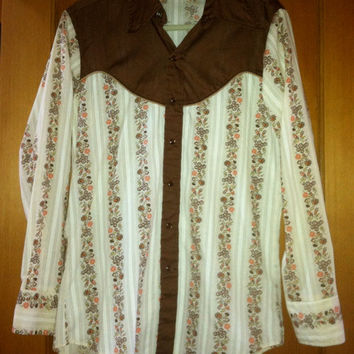 Vintage Cowboy Up Shirt with Brown Accents and Pearl Buttons Westernwear California