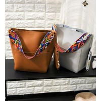 Boxy Handbag with Colorful Strap