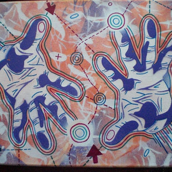 magic hands,stencil & illustration on canvas,abstract art,spay paints,hand made,marker pen,urban,fine art,purple,orange,green,pinks,arrows