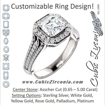 Cubic Zirconia Engagement Ring- The Frannie (Customizable Asscher Cut Style with Halo and Tri-Split Pavé Band)