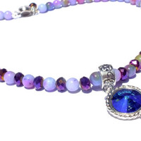 Purple Jade and Czech Beaded Necklace, Swarovski Rivoli Necklace ,Purple Gemstone Necklace