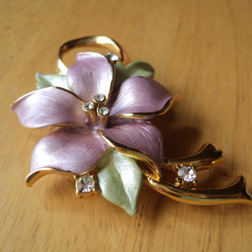 Flower Enamel Brooch, Lavender and Green Brooch,Goldtone Pin, Clear Crystals, Lovely Floral Motif, Gift for Her