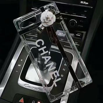 Chanel 2018 new camellia iphone6 classic black white + transparent crystal phone case F-OF-SJK Transparent