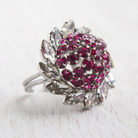 Vintage Pink & Clear Austrian Crystal Ring - Statement Adjustable Silver Tone Domed Cluster Cocktail Jewelry / Rhinestone Pinwheel