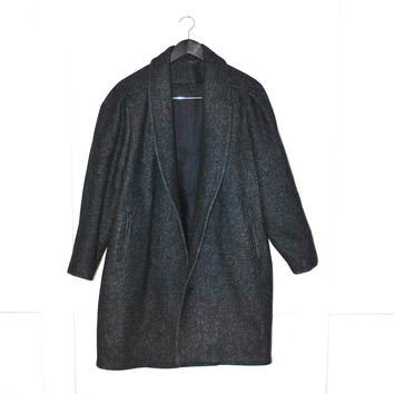 minimalist speckled grey wool coat 1980s vintage menswear inspired rounded lapel winter jacket os
