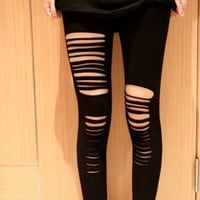 hosyo new arrival stockings leggings pantyhose punk ripped stockings /Microfiber Fantasy Black Ripped Legging free size = 1931849732