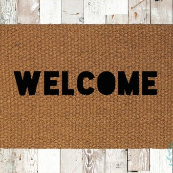 Welcome Cutout Coir Doormat, Decorative Area Rug, Hand Painted Hand Woven, Housewarming Gift