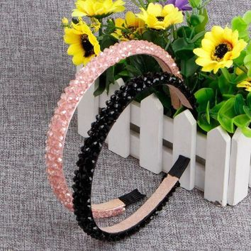 PEAP78W Trendy Women Young Girl Bling Rhinestone Crystal Headbands Hair Band Head Piece Chain Jewelry