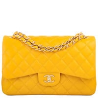 Chanel Yellow Quilted Lambskin Jumbo Classic 2.55 Double Flap Bag Gold Hardware