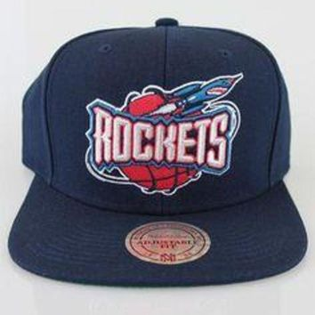 ONETOW Mitchell & Ness Mens Houston Rockets NBA Solid Snapback Navy
