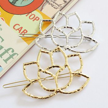 Hot Golde Silver Lotus Shape Brief Women Girls Fashion Hairpins Hair Clips Headdress Jewelry Gift