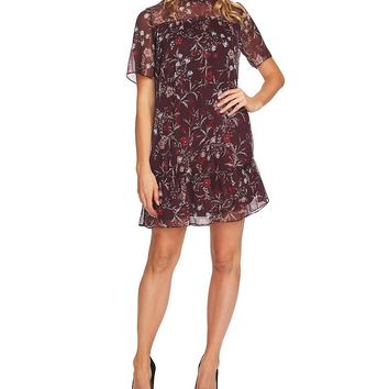 CeCe Mystery Floral Print Ruffled Mockneck Shift Dress | Dillards