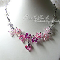 Swarovski Necklace Sweet Pink Flower Dancing by candybead on Etsy