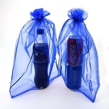 Free Shipping Organza Sachet Bags 100pcs/lot 25*35 Blue Organza Pouches Saco De Tule Promotional Gifts Customized Logo Bag