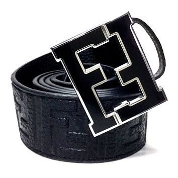 Fendi Belt | Size 36 or 90cm | Black Leather | Black Buckle | FF Zucca