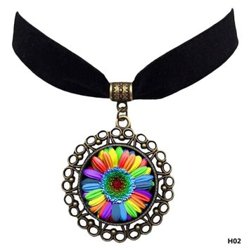 Rainbow Flag Lgbt Pride Charm Velvet Choker Six Color Flower Time Gem Pendant Necklace Gay Jewelry