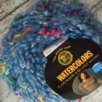 Lot 3 Lion Brand Watercolors Boucle Yarn Blue Lagoon Destash