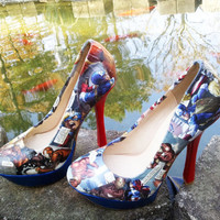 Iron Man and Captain America Platform Pumps - Comic Book Heels Shoes