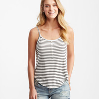 Striped Ribbed Henley Tank - Aeropostale