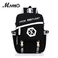 MSMO 2017 New Kpop EXO Canvas Backpack Sacks Women/Men Student School Bags For Girl boy Casual Travel EXO bags