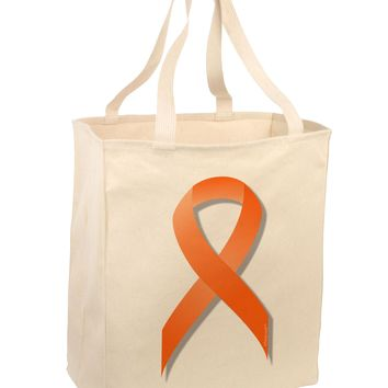 Leukemia Awareness Ribbon - Orange Large Grocery Tote Bag