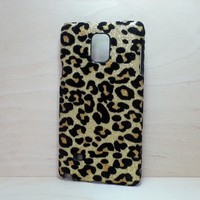 For Samsung Galaxy Note 4 Gold Leopard Felt Glitter Case