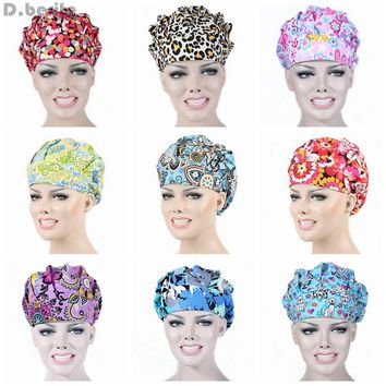 Men Women Doctor Nurse Printing Scrub Cap Medical Surgical Surgery Hat New Hot DAJ9263