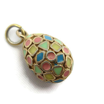 Gold Egg Pendant - Faberge Style, Colorful Pastel Enamel, Costume Jewelry
