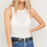 Light Before Dark White Waffle Tank Top - Urban Outfitters