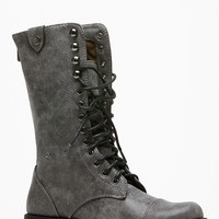 Grey Faux Leather Mid Calf Ankle Boots