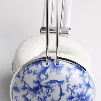 Vantage Decor Over Ear Headphones for iPhone Android Tablet Laptop Blue Floral