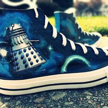 DCCK1IN doctor who hand painted converse canvas lace up high top shoes