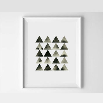 Large Watercolor Original . Minimal Triangle Art . Hand Painted . Geometric Art . Black White Modern Art .