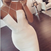 fashion white sexy dress