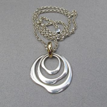 Signed RLM Studios Robert Lee Morris Sterling Silver Modernist Free Form Triple Circles Pendant Rolo Chain Vintage Necklace