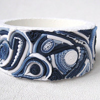 White and blue Woman bracelet Denim style fancy pattern polymer clay jewelry Blue and white denim bracelet bright bracelet Extruder denim