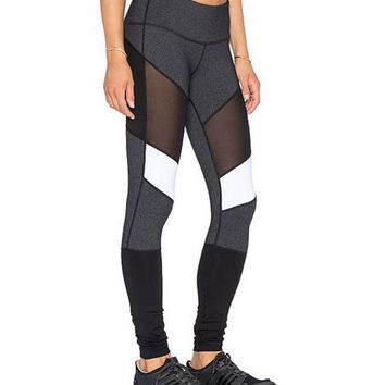 Net yarn splicing yoga pants Ms hollow out breathable sweat pants high elasticity
