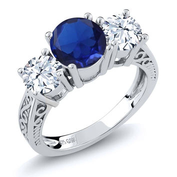 2.67 Ct Round Blue Simulated Sapphire White Topaz 925 Silver 3-Stone Ring