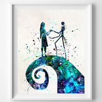 Jack Skellington and Sally Print, Nightmare Before Christmas, Type 2, Tim Burton, Watercolor, Illustration, Halloween, Christmas Gift