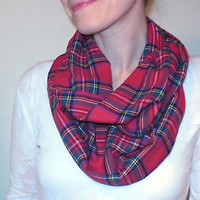 Red Plaid Infinity Scarf Green 100% Soft Cotton Flannel Tartan Stewart Eternity