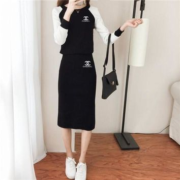 ONETOW Chanel' Women Casual Fashion Round Neck Multicolor Long Sleeve Knit Skirt Set Two-Piece