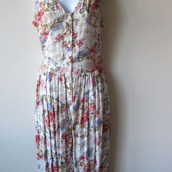 90s Floral Romper Jumpsuit, Cutout Back -- New with Tags
