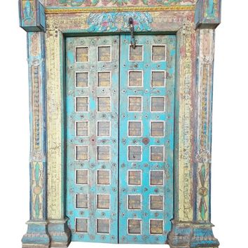 Indian Antique Wooden Haveli Door Iron Nails Blue Distressed Beautiful Carving Double Doors Boutique Hotel Design