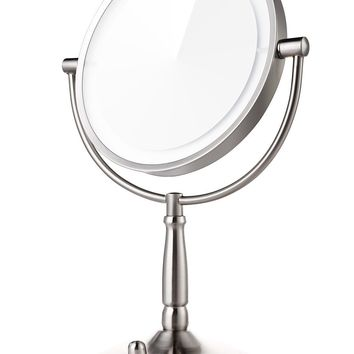 Miusco 7X Lighted Magnifying Double Side Adjustable Makeup Mirror, 8 inch, Brushed Steel ¡­: Amazon.es: Hogar