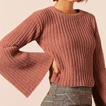 Chunky Ribbed Knit Trumpet-Sleeve Sweater