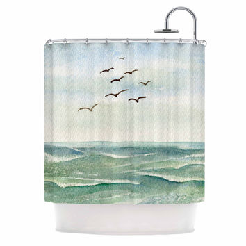 "Cyndi Steen ""Flock Flying Low"" Blue Coastal Shower Curtain"