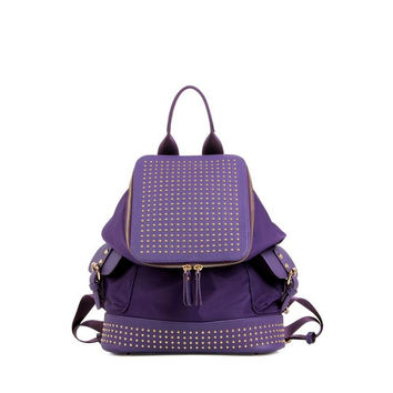 Trendy Rivets and Solid Color Design Satchel For Women
