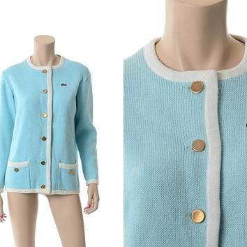 Vtg 60s David Crystal Lacoste Cardigan Sweater 1960s Baby Blue and White Izod Alligato