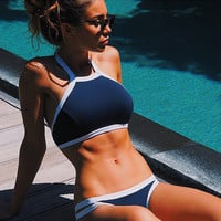 Navy Blue High Neck Halter Bikini 2016 Crop Top Swimsuit Brazilian biquini Sexy Bandage Thong Swimwear Women Bathsuits Monokini