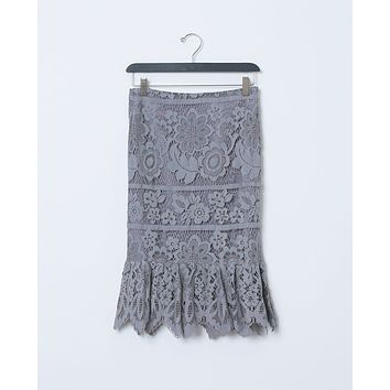 Lovely Vibes Lace Skirt - Gray